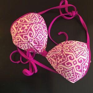 Hula Honey Pink Sapphire Pushup Halter Bikini L